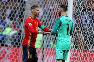 01.07.2018. MOSCOW, Russia:SERGIO RAMOS, DAVID DE GEA  in action during the Fifa World Cup Russia 2018, Eighths of final football match between SPAIN VS RUSSIA in Luzhniki Stadium in Moscow.