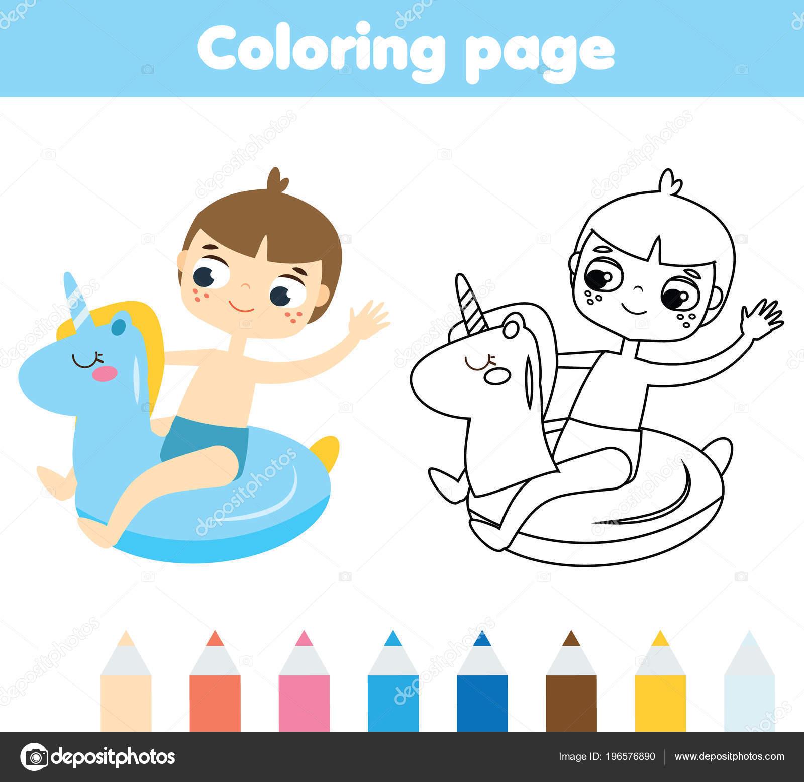 Página Para Colorear Para Niños Con Tema Vacaciones Verano Muchacho ...