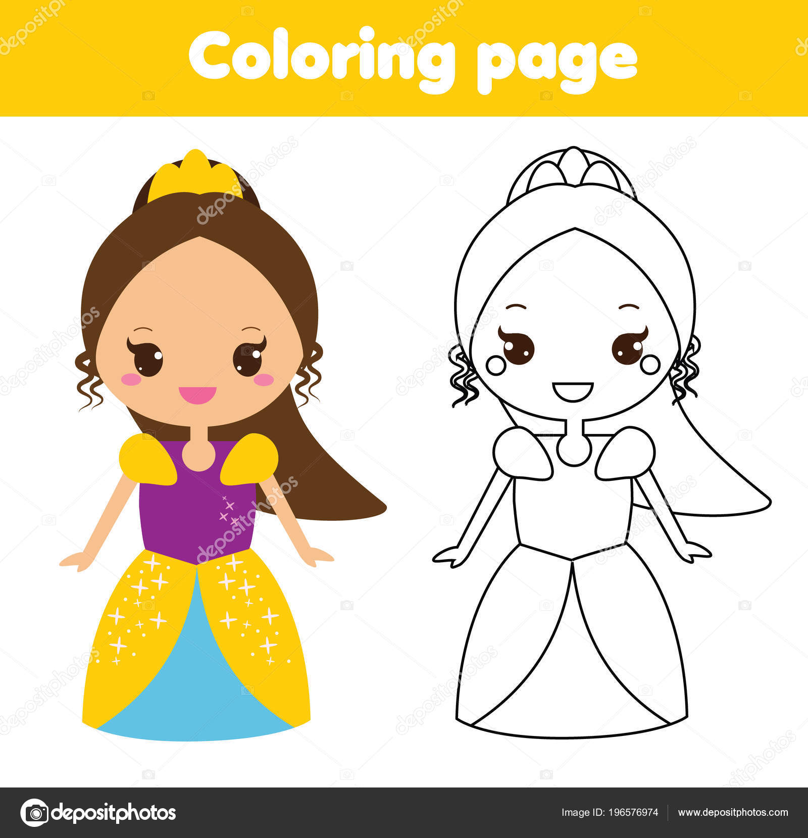 Children Educational Game Coloring Page Cute Princess Printable