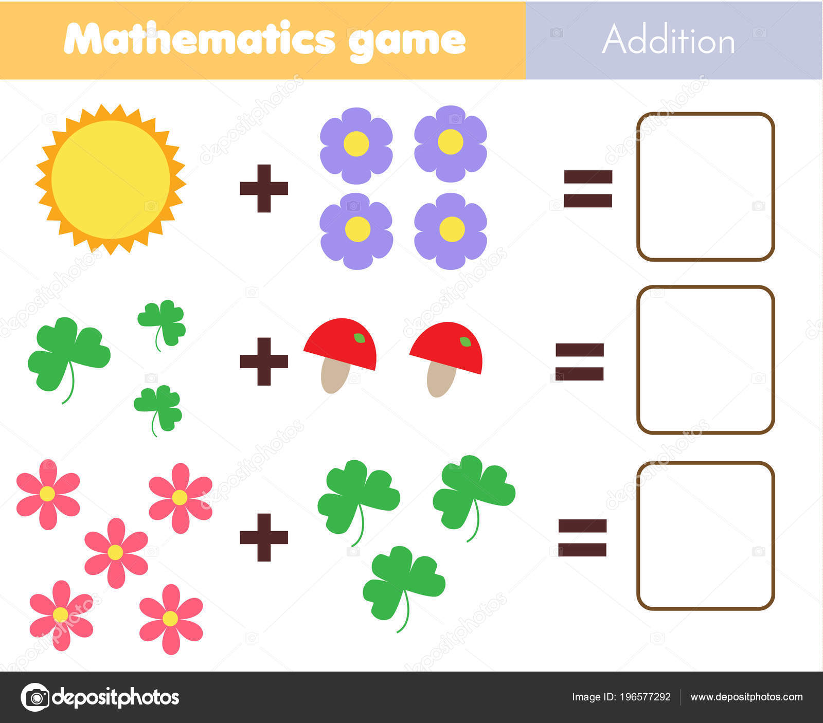 Mathematics Worksheet Educational Game Children Learning ...