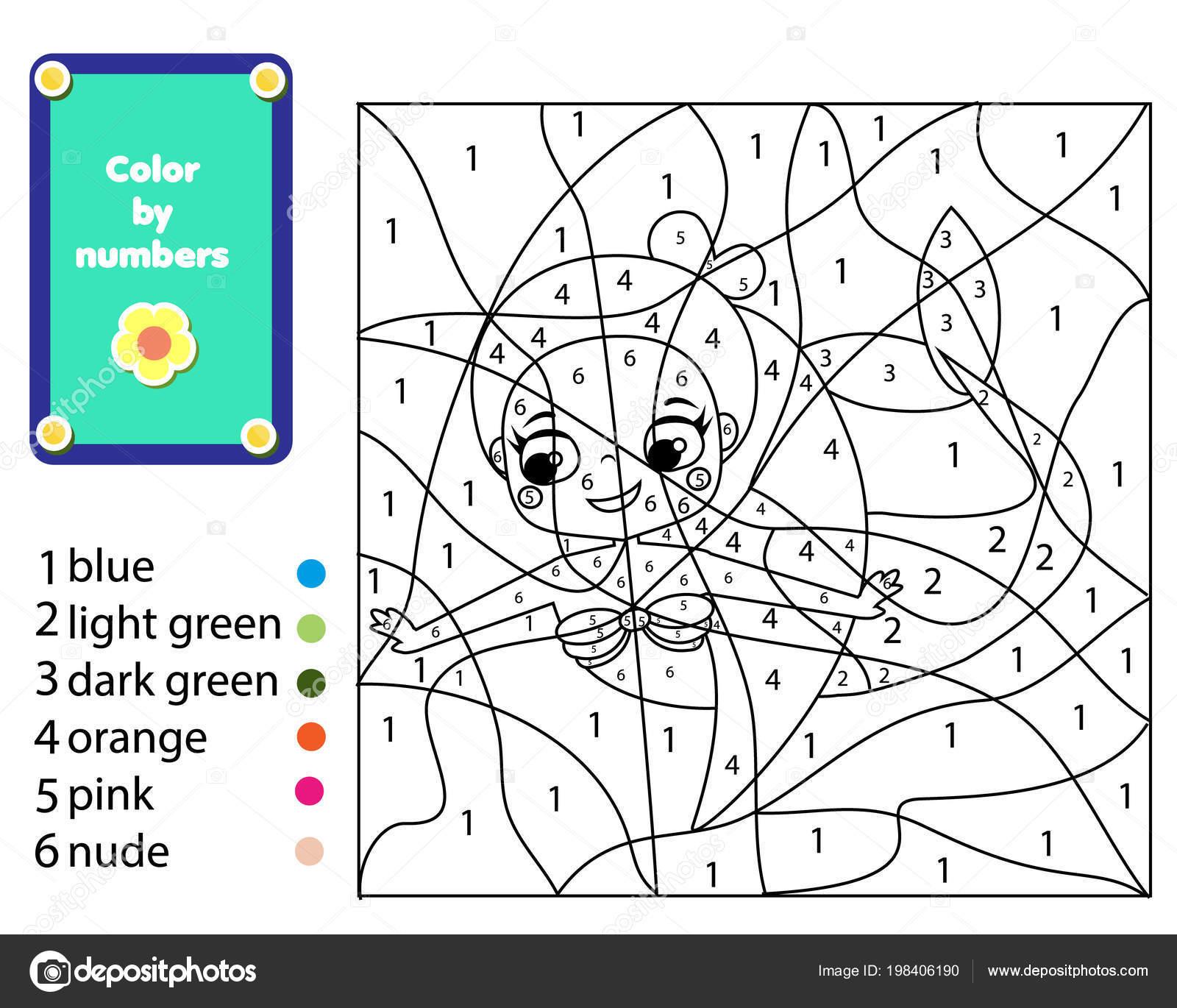 çocuk Eğitim Oyunu Deniz Kızı Boyama Sayfası Renk Numaralarına Göre