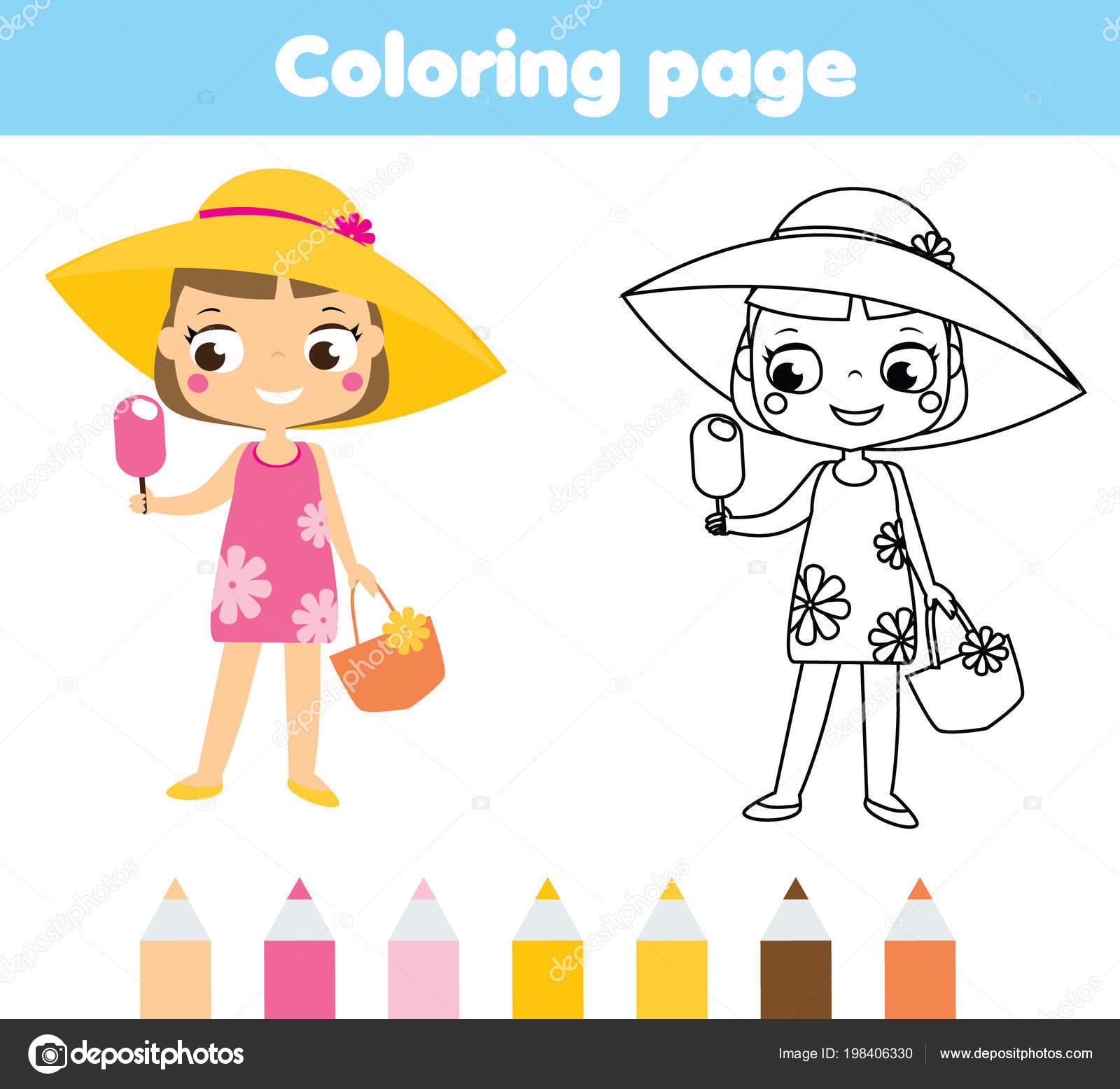 Vacaciones Verano Página Para Colorear Para Niños Niña Dibujos