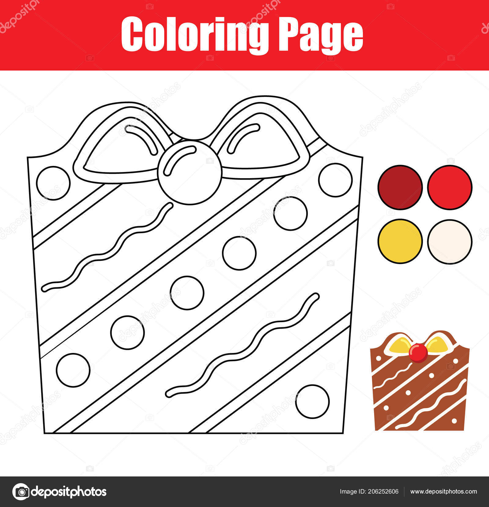 Coloring Page Educational Children Game Color Christmas Cookie