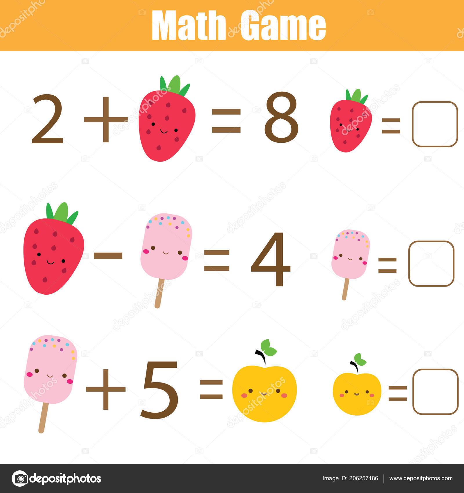 b185bde40329 Juego educativo de matemáticas para niños. Ecuaciones completas. Estudio de  suma y resta. Hoja de trabajo de matemáticas para niños — Vector de ...