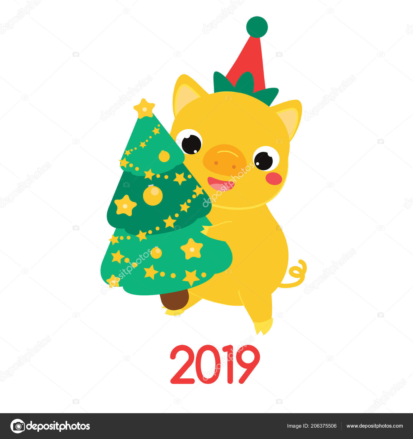 Cartoon Yellow Pig Symbol 2019 Party Holding New Year Spruce Stock