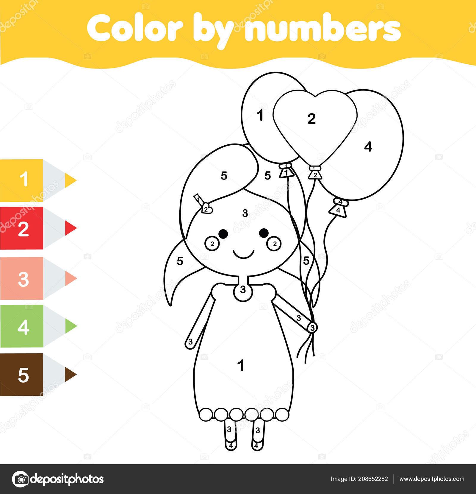 çocuk Eğitim Oyunu Boyama Sayfası Ile Balonları Tutan Kız Renk