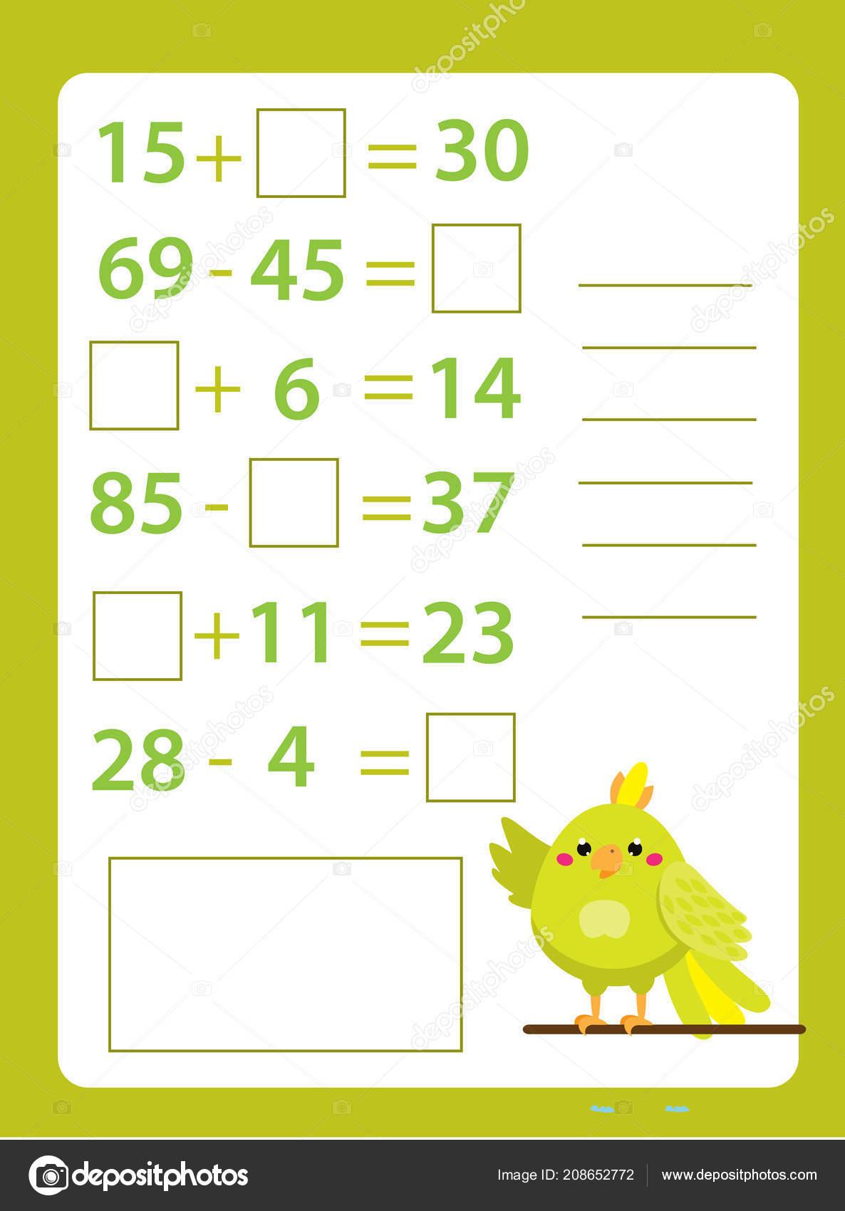 5774723b1e31 Hoja Trabajo Matemáticas Juego Educativo Para Los Niños Aprendiendo Contar  — Archivo Imágenes Vectoriales