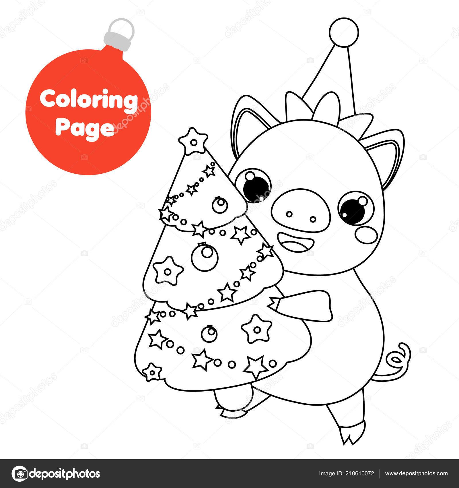 Pagina Colorare Maiale Nuovo Anno Albero Natale Abete Della Holding