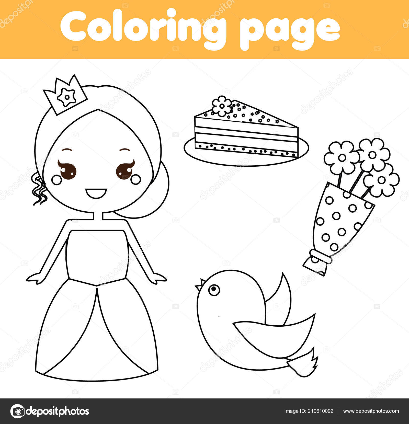 Coloring Page Educational Children Game Cute Princess Cake Bird