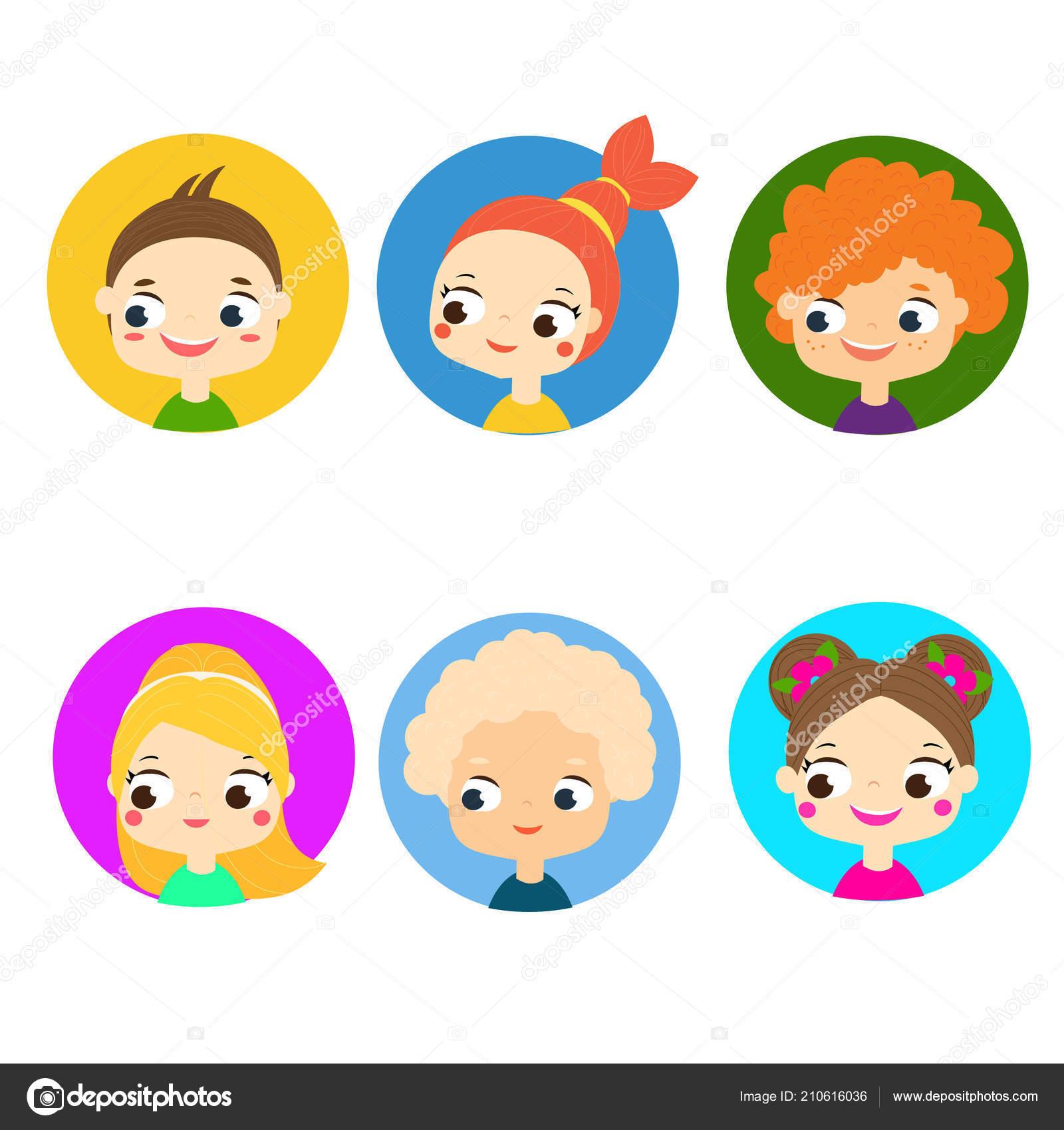 Illustrazione Di Bambini Dei Cartoni Animati Volti Bambini Dei