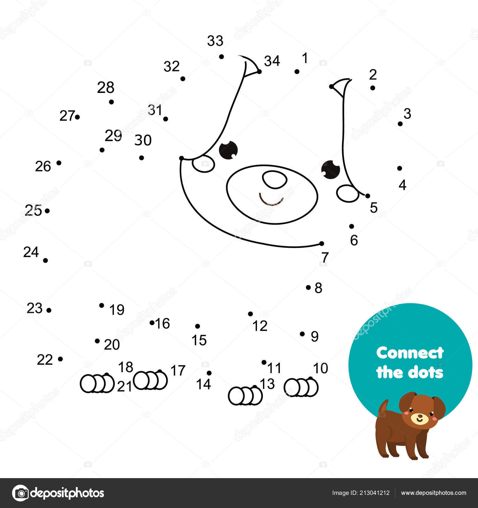 Connect Dots Children Educational Game Dot Dot Numbers ...