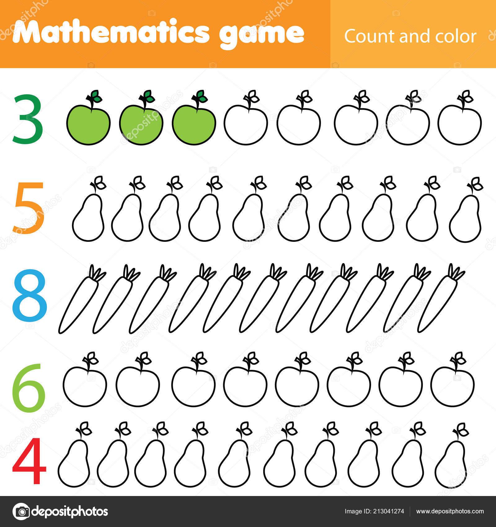b09fd71c1985 Hoja Trabajo Matemáticas Para Niños Contar Colorear Niños Educativos  Actividad — Archivo Imágenes Vectoriales