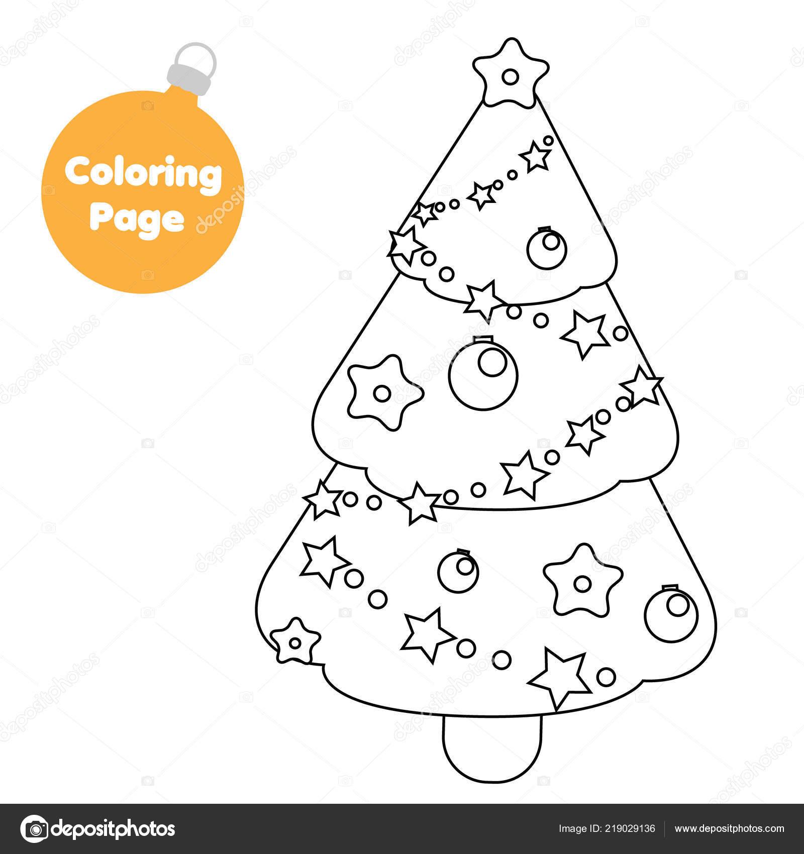 Pagina Para Colorear Arbol Abeto Navidad Ano Nuevo Juego Educativo
