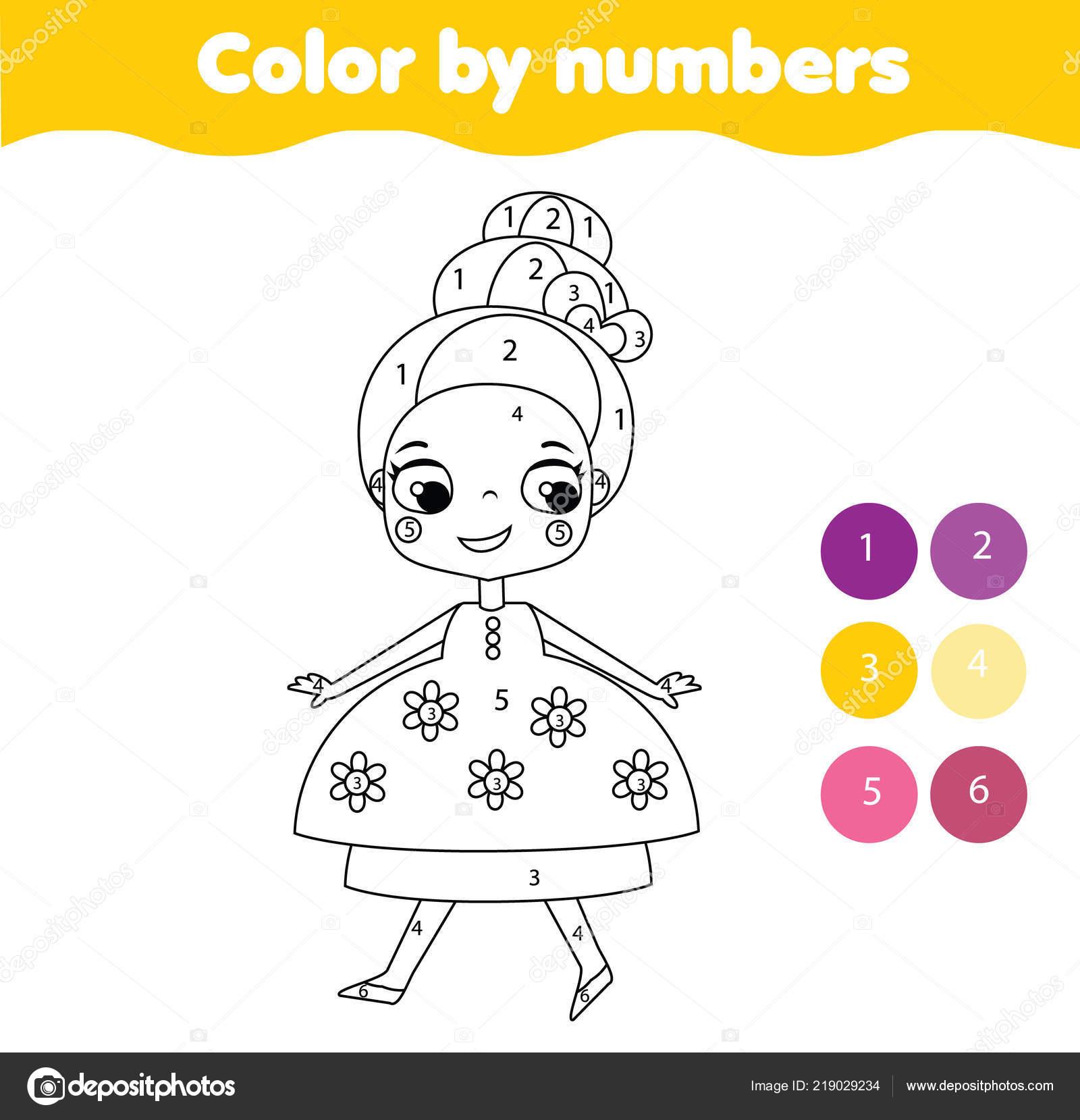 Coloriage De Princesse En Couleur.Couleur Jeu Educatif Enfants Nombres Coloriage Pour Les Enfants