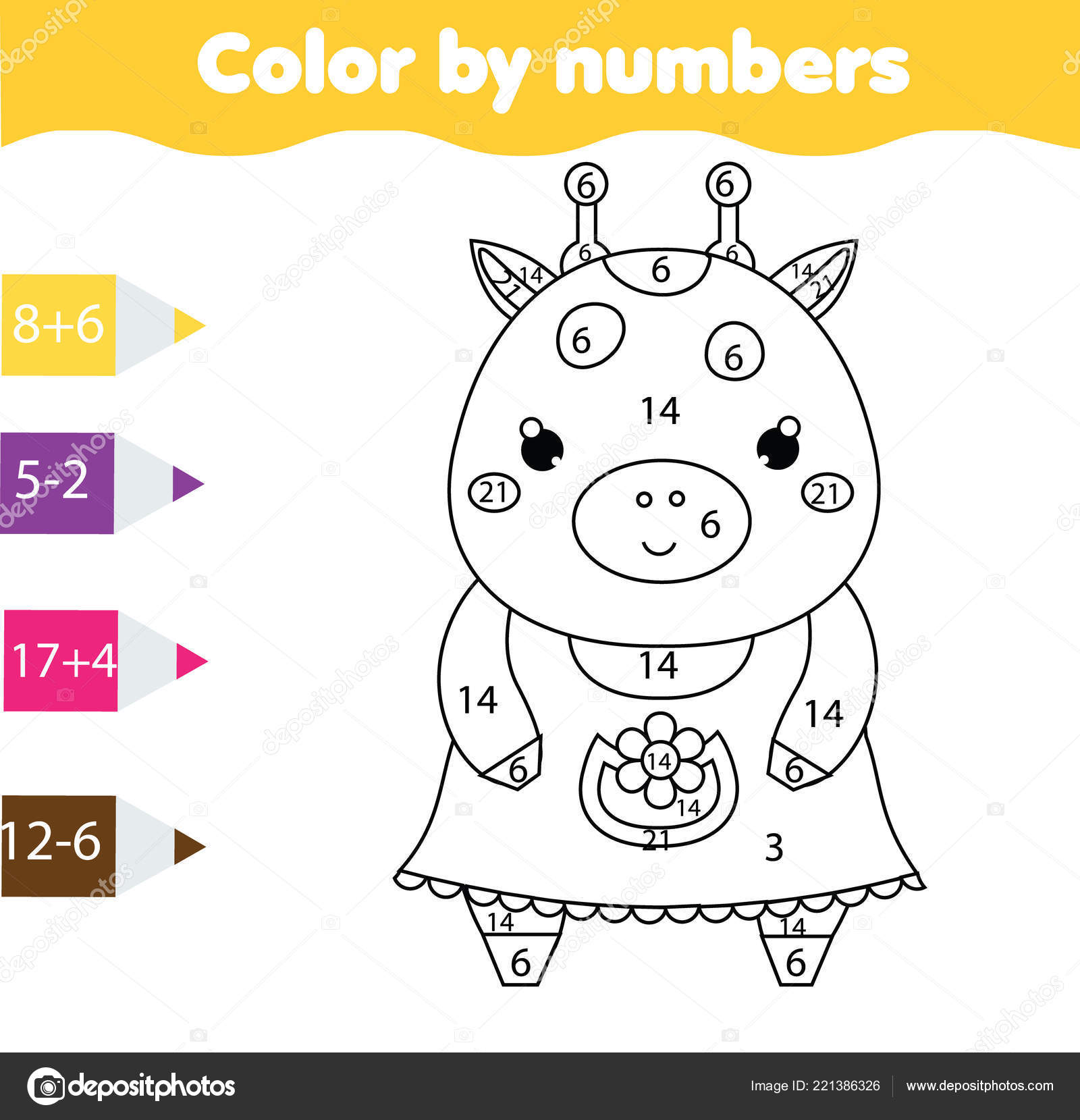Children Educational Game Coloring Page Cute Giraffe Color Numbers