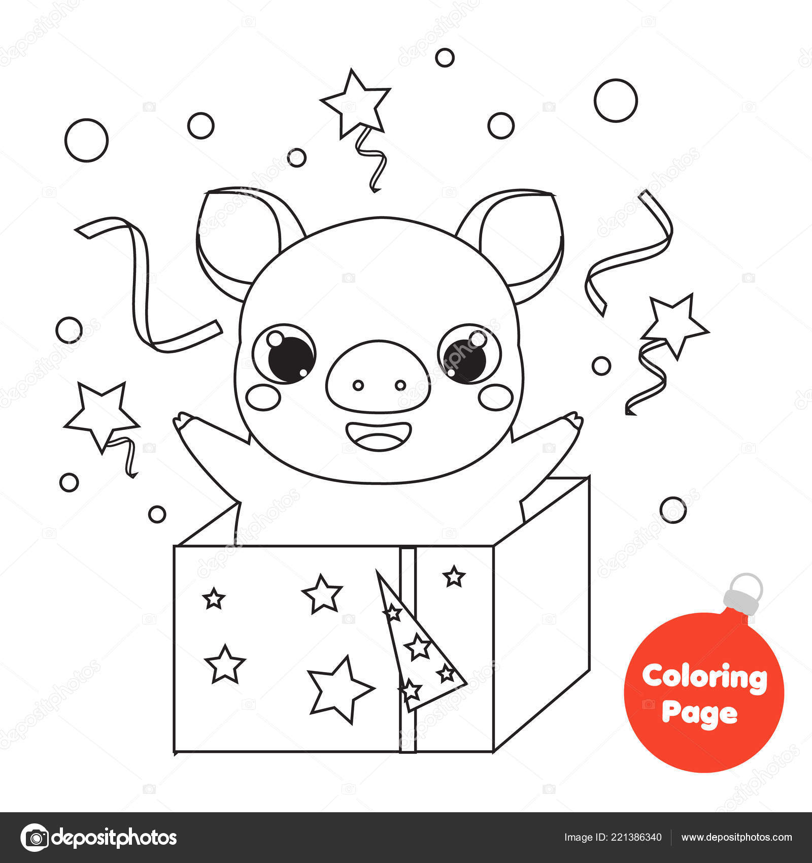 Coloring Page 2019 Chinese New Year Pig Gift Box Educational — Stock ...