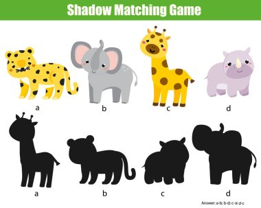 Shadow matching game. Activity with african animals for kids, toddlers and children