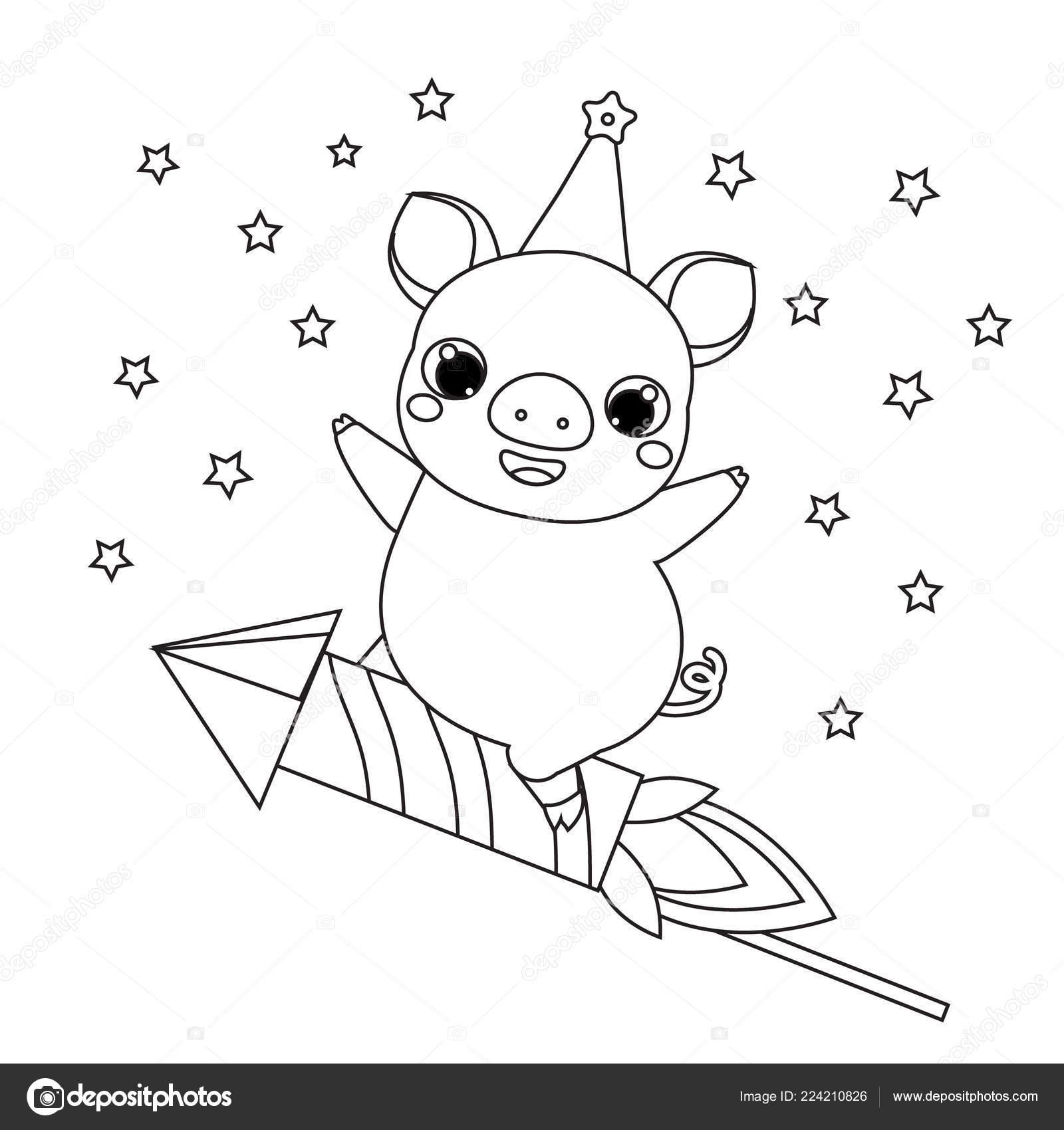 Colorear Año Nuevo Theme Página 2019 Dibujos Animados Cerdo Cohete