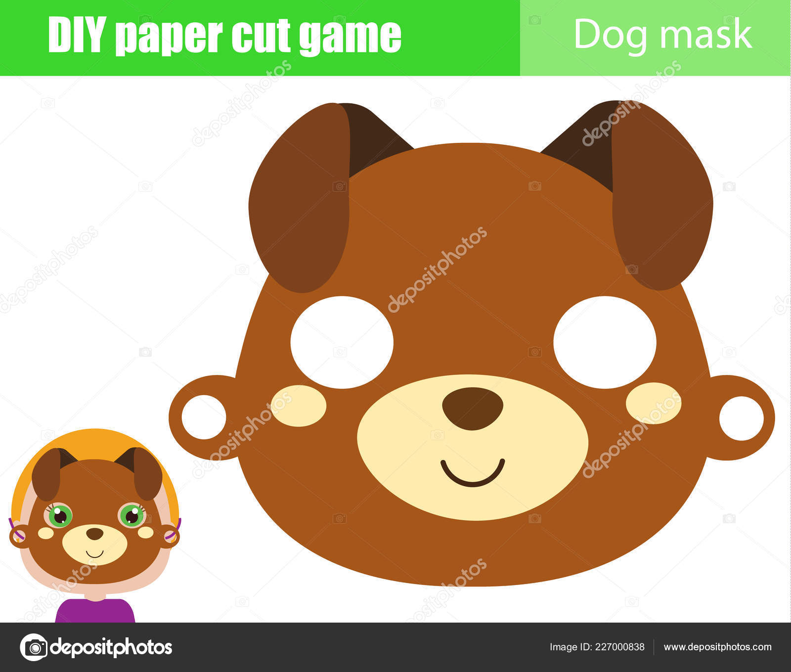 image relating to Dog Mask Printable identify Do it yourself Young children Enlightening Innovative Match Create Animal Celebration