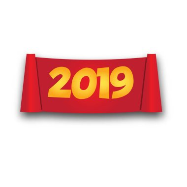 2019 Happy New Year paper roll banner. isolated red scroll in realistic style. vector illustration