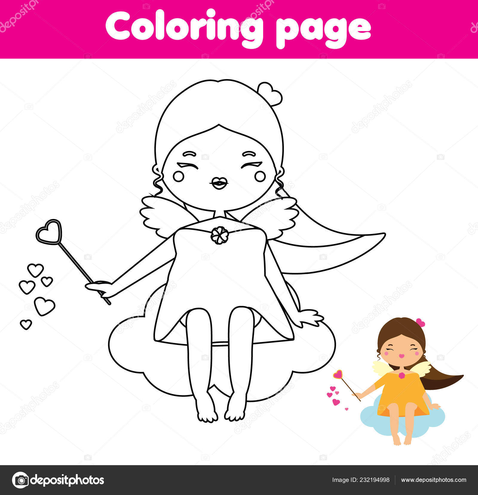 Página Para Colorear Juego Educativo Los Niños Angel Cupido
