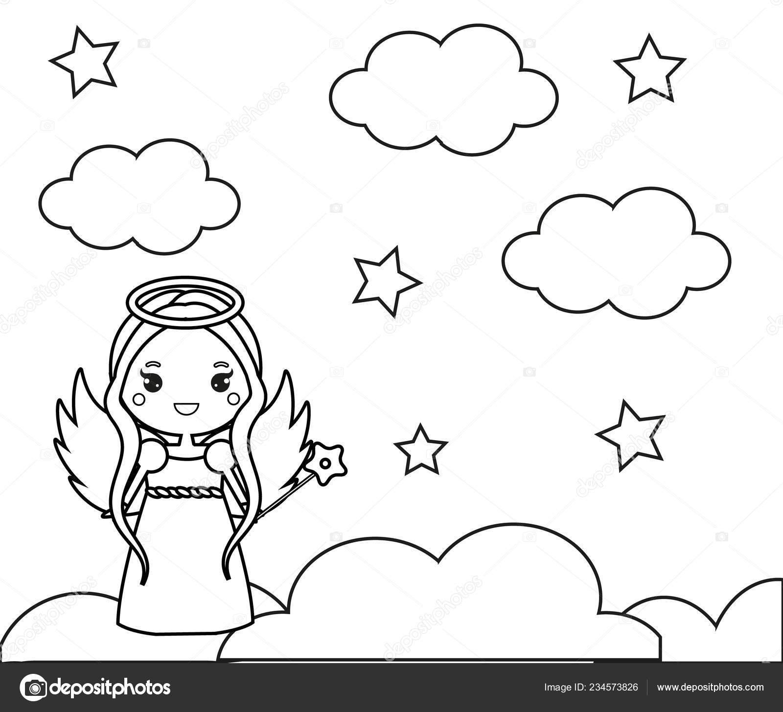 Página Para Colorear Con Lindo ángel Las Nubes Dibujo Juego Vector
