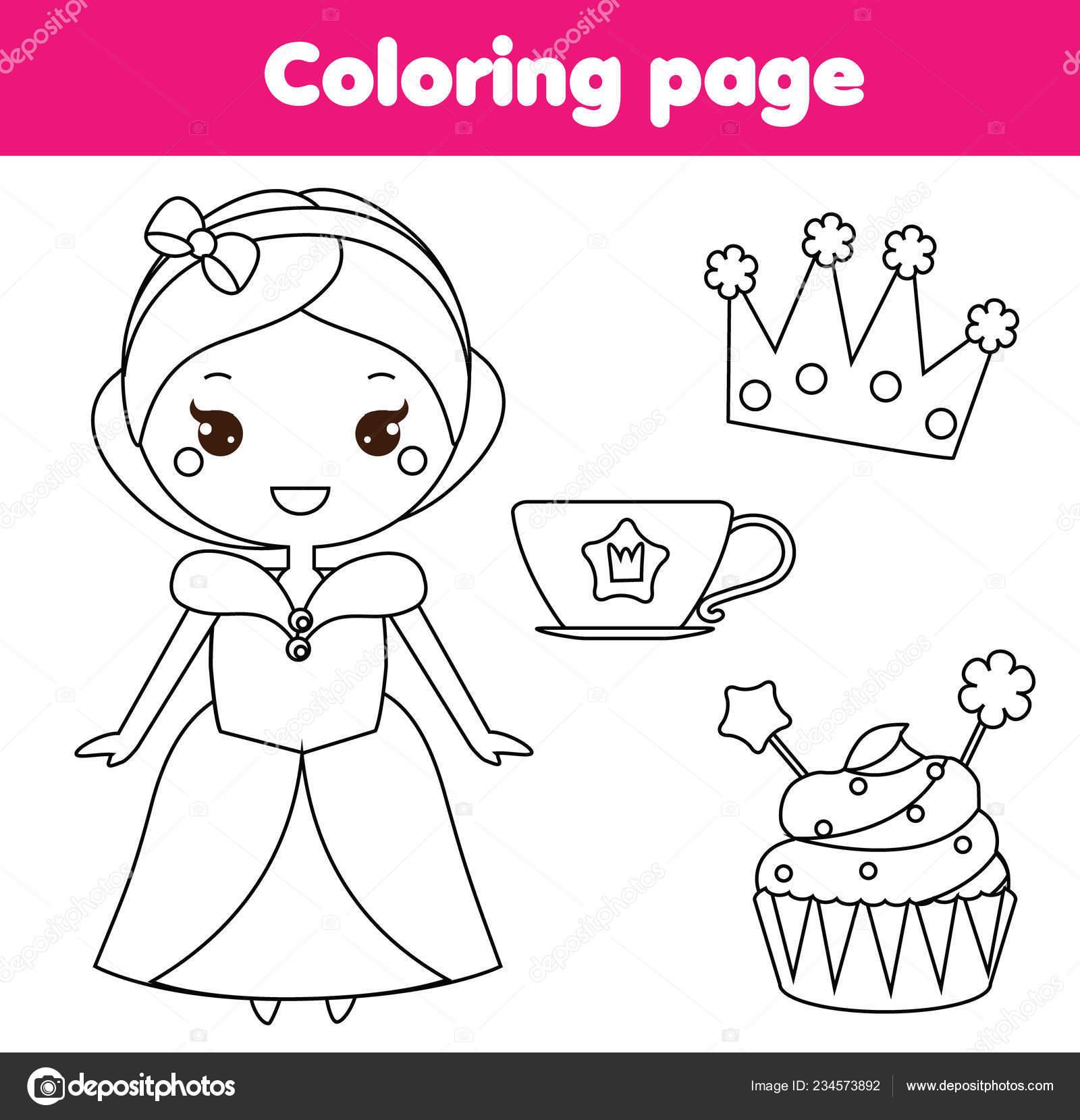 развивающая игра детей раскраски милой принцессы кубок