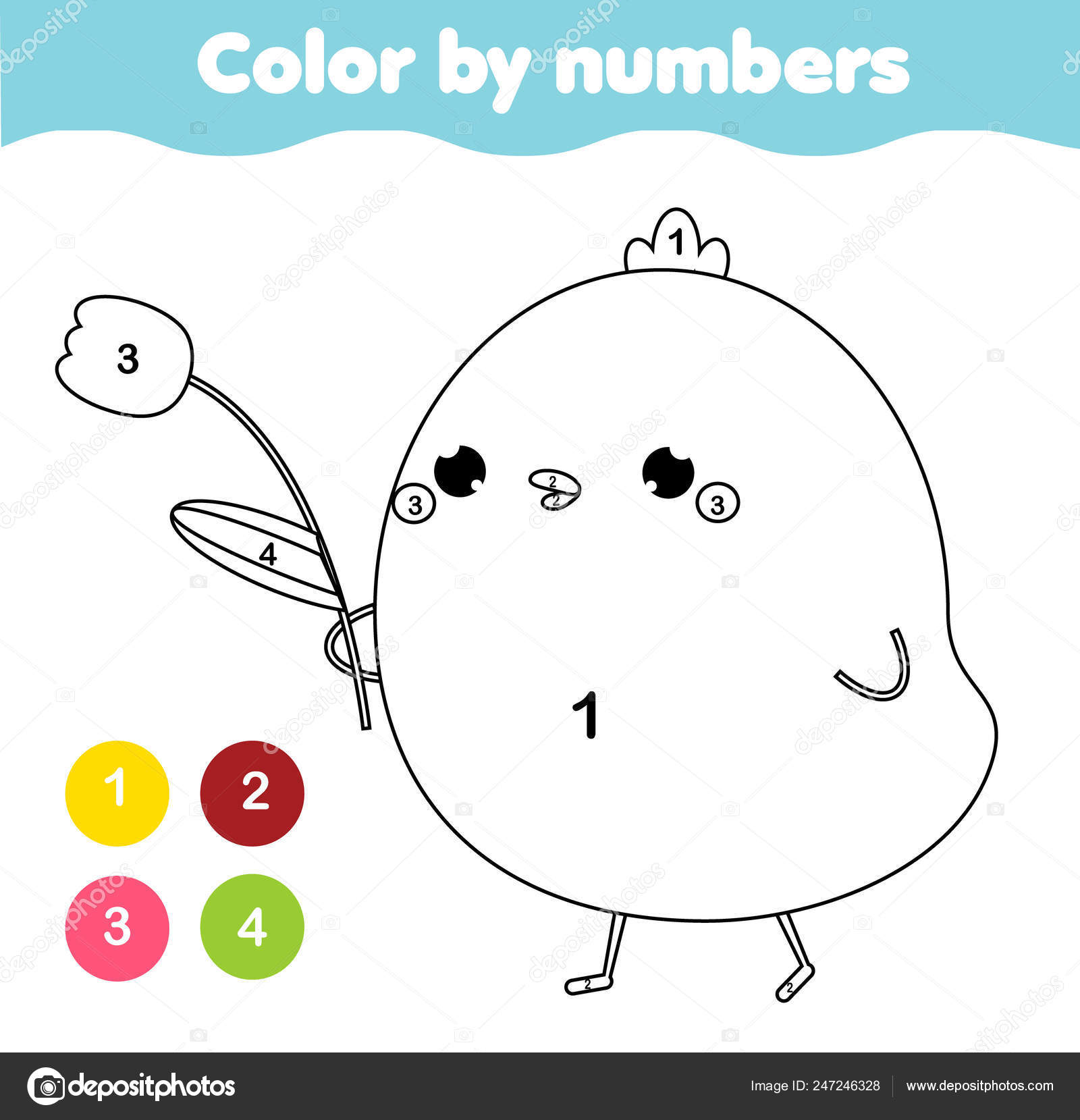 Coloring Page Kids Educational Children Game Color Numbers ...