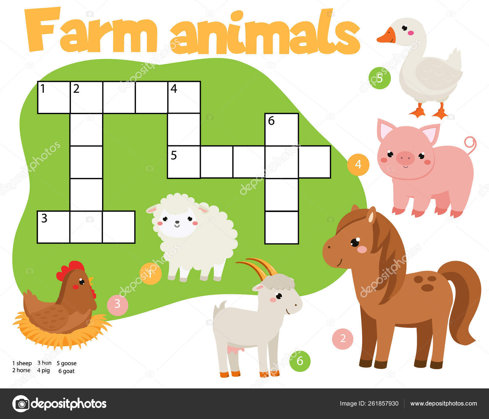 Educational Game For Children Farm Animals Crossword Puzzle Kids Activity Learning English Vocabulary Stock Vector C Bonnyheize Gmail Com 261857930