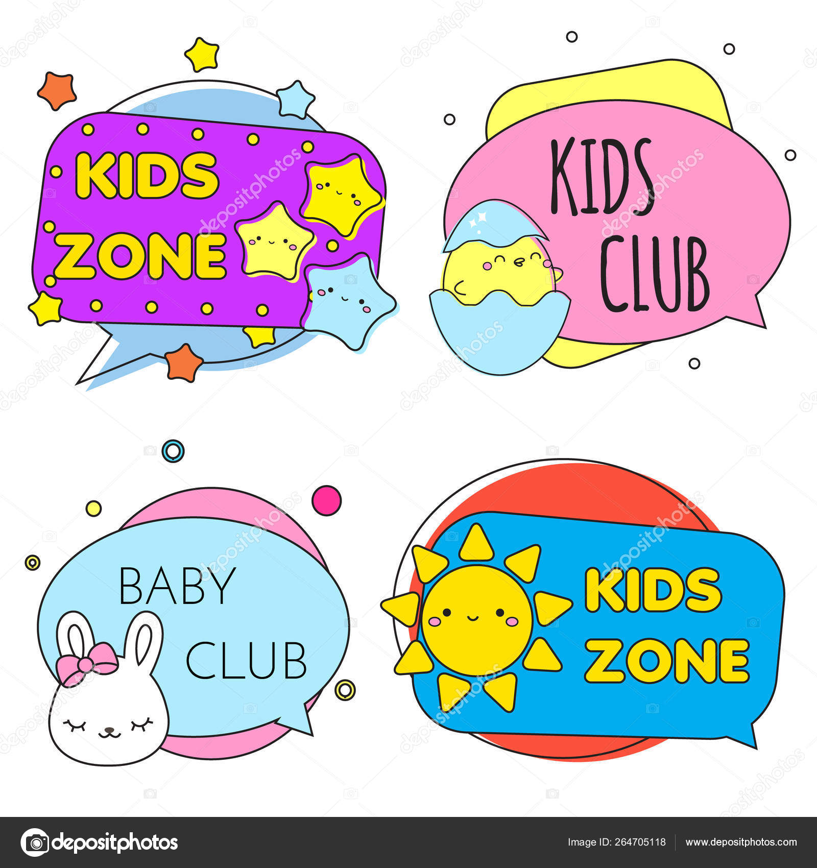 Kids zone banners  Colorful labels with children toys and