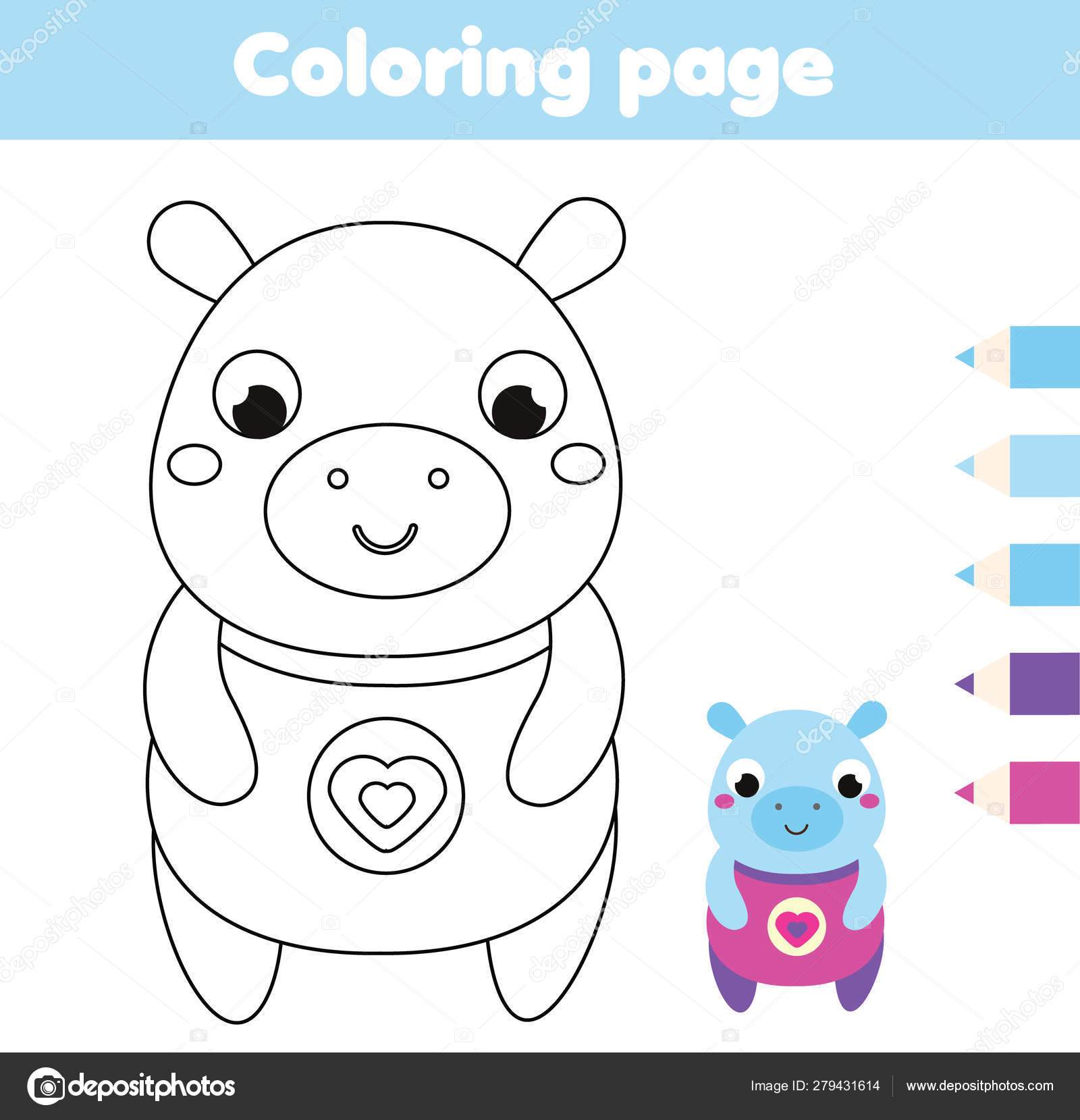 Coloring Page With Hippo Drawing Kids Activity Printable Fun For Toddlers And Children Vector Image By C Ksuklein Vector Stock 279431614