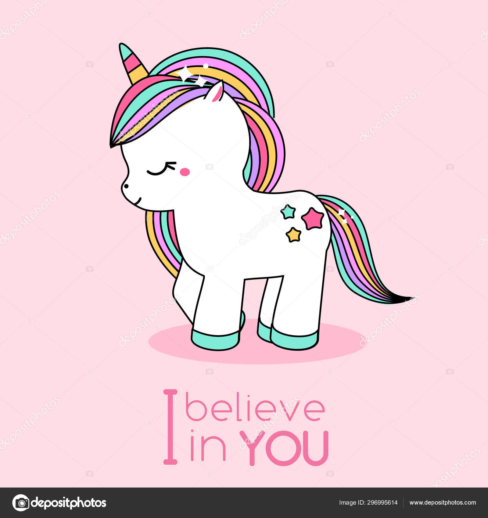 Cartoon Kawaii Unicorn Cute Fairy Horse Character With Typography I Believe In You Illustration For Romantic Cards And Prints Stock Vector C Bonnyheize Gmail Com 296995614
