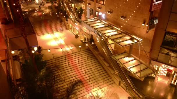 Hollywood Time Lapse Tilt Down Night Cityscape Crowd in Los Angeles California USA