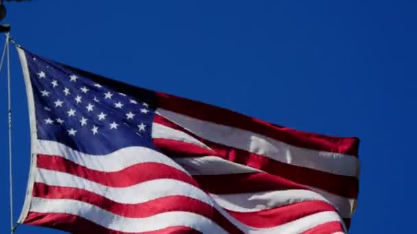 close-up footage of USA Flag Waving in Wind