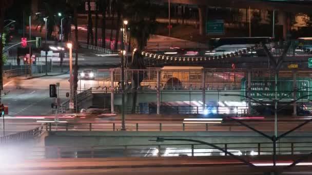 Los Angeles 101 Dálnice na Broadway Telephoto Night Traffic Time Lapse