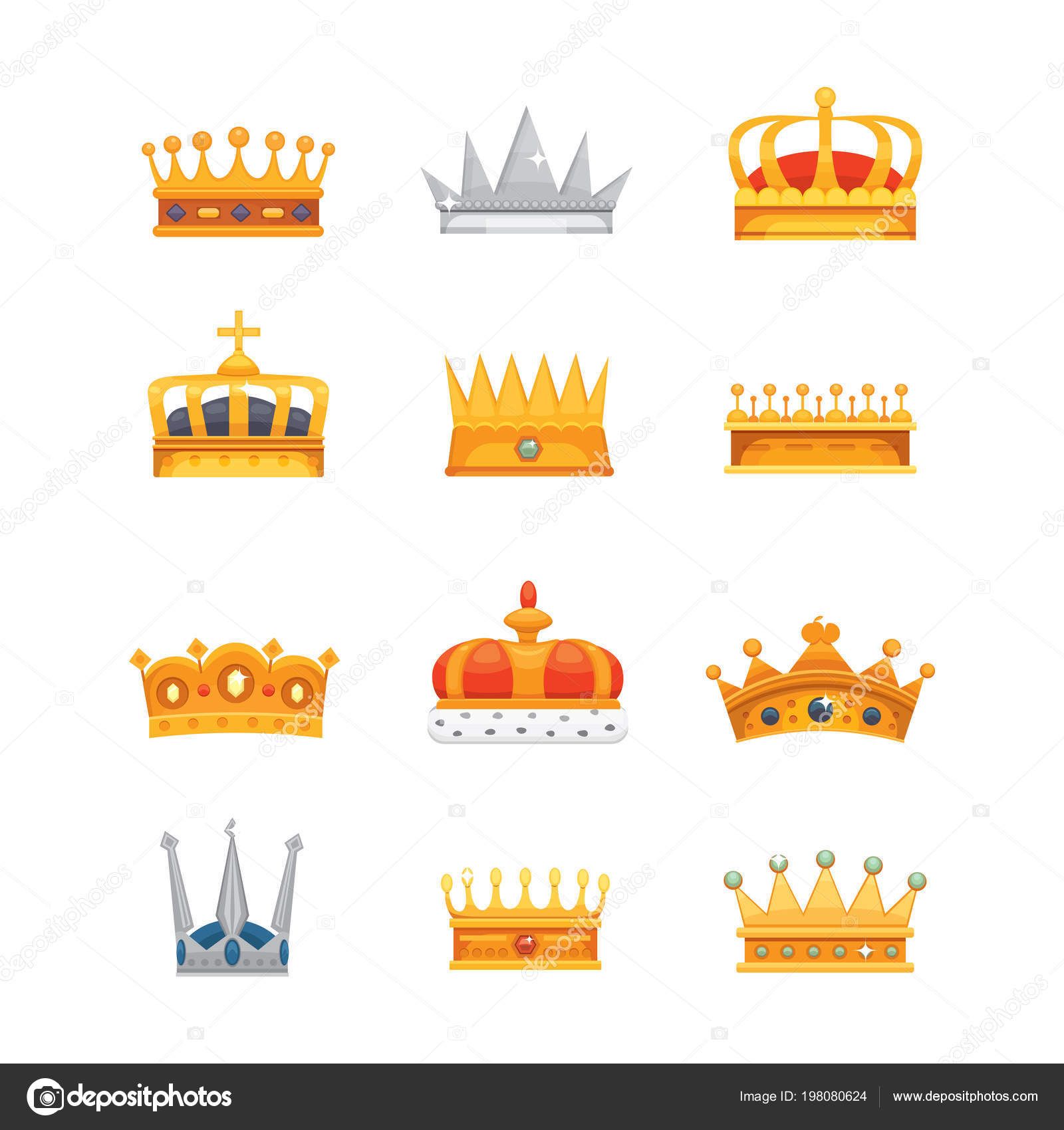 Tipos De Coronas De Princesas Colección De Iconos De La Corona De