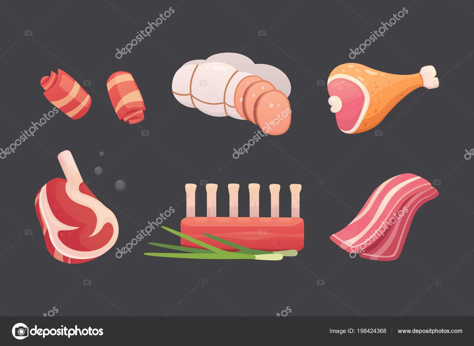 Set di prodotti di carne fresca. bistecca in stile cartone animato