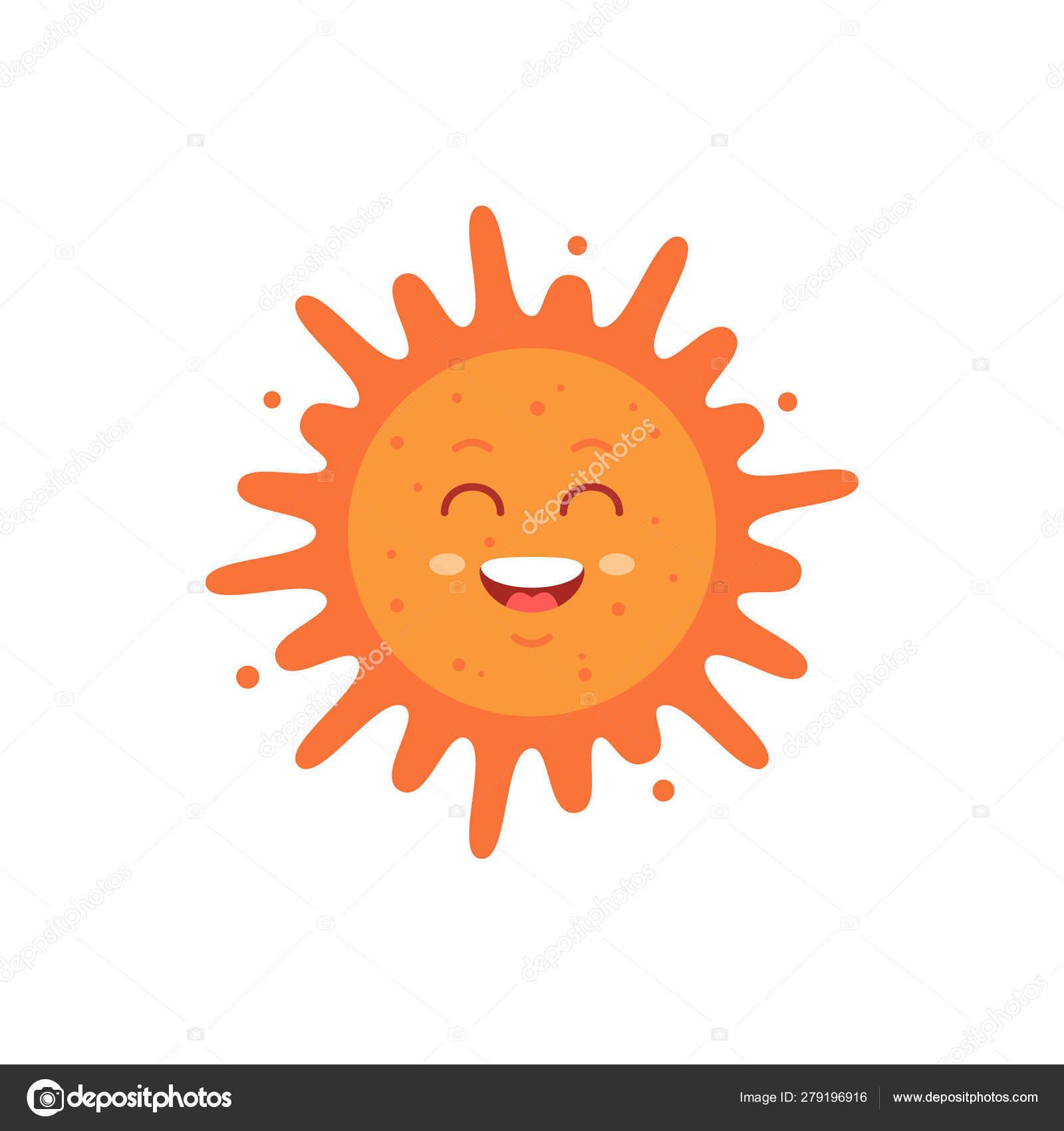 Funny vector hand drawn sun illustration  Cute sun emoticon