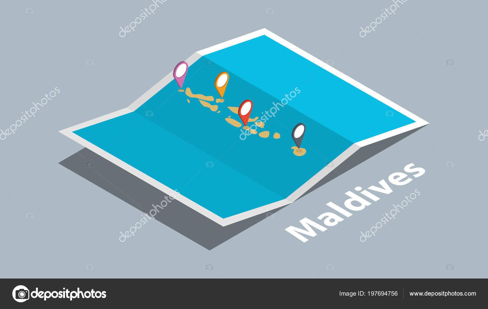 Explore Maldives Maps Isometric Style Pin Marker Location