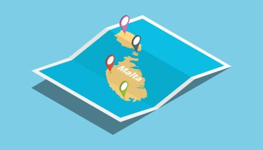 malta explore maps country nation with isometric style and pin location tag on top vector illustration