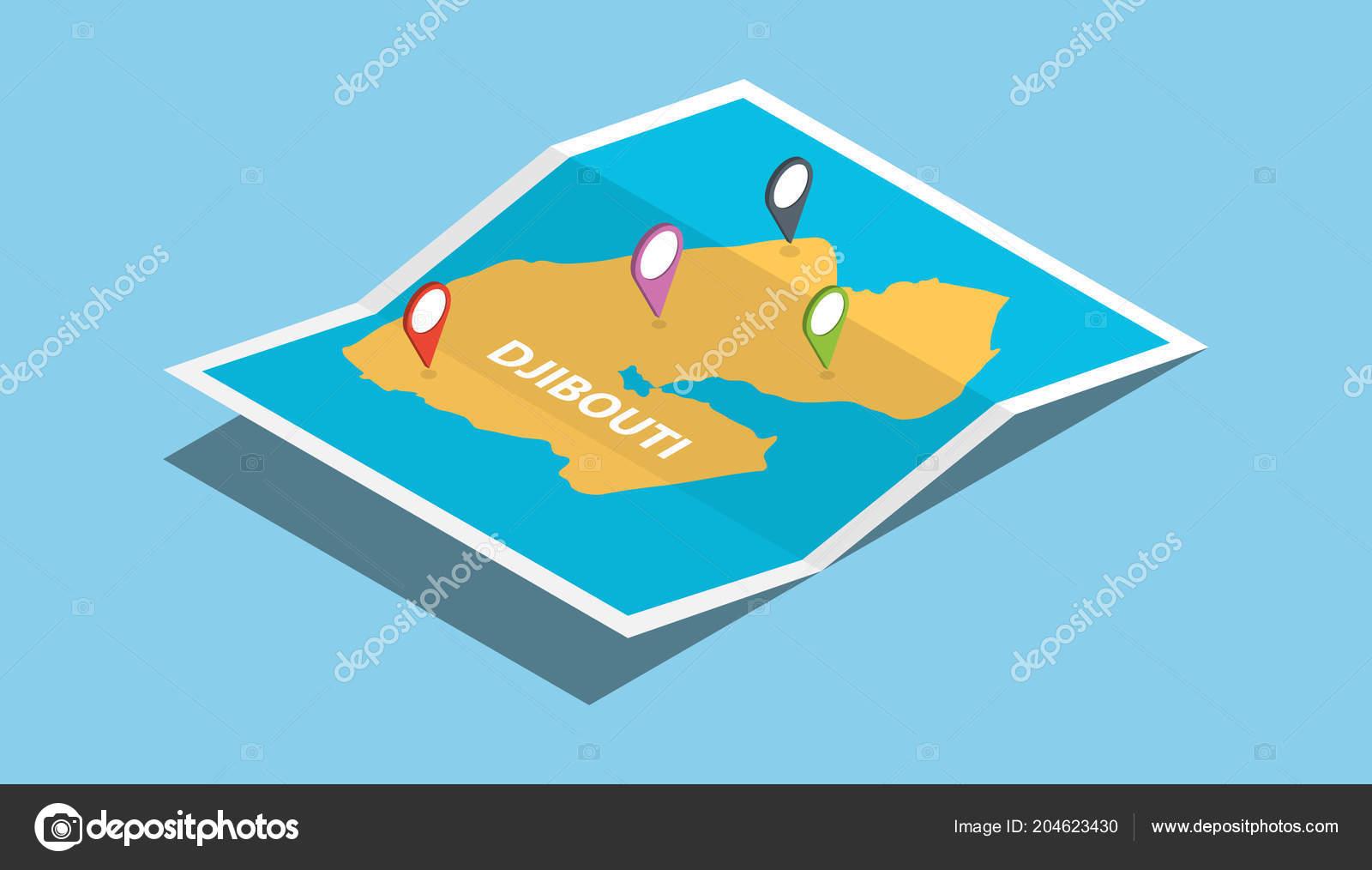 Djibouti Africa Explore Maps Isometric Style Pin Location ...