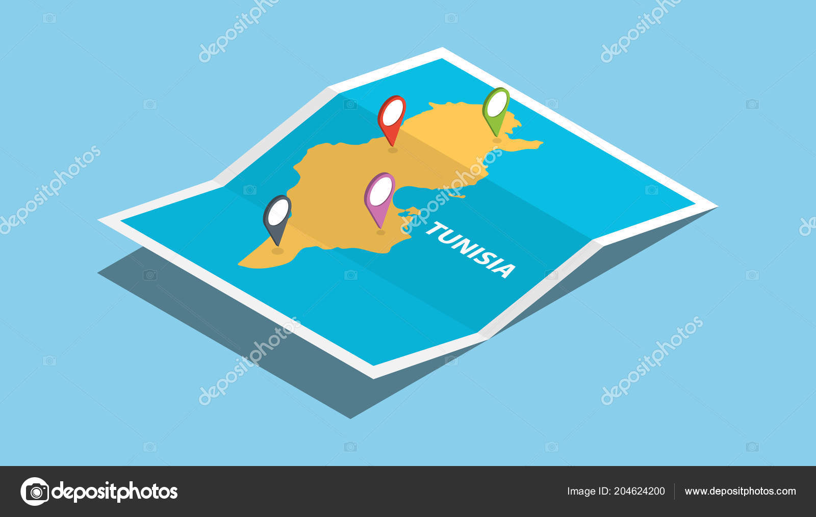 Tunisia Africa Explore Maps Isometric Style Pin Location Tag Top ...