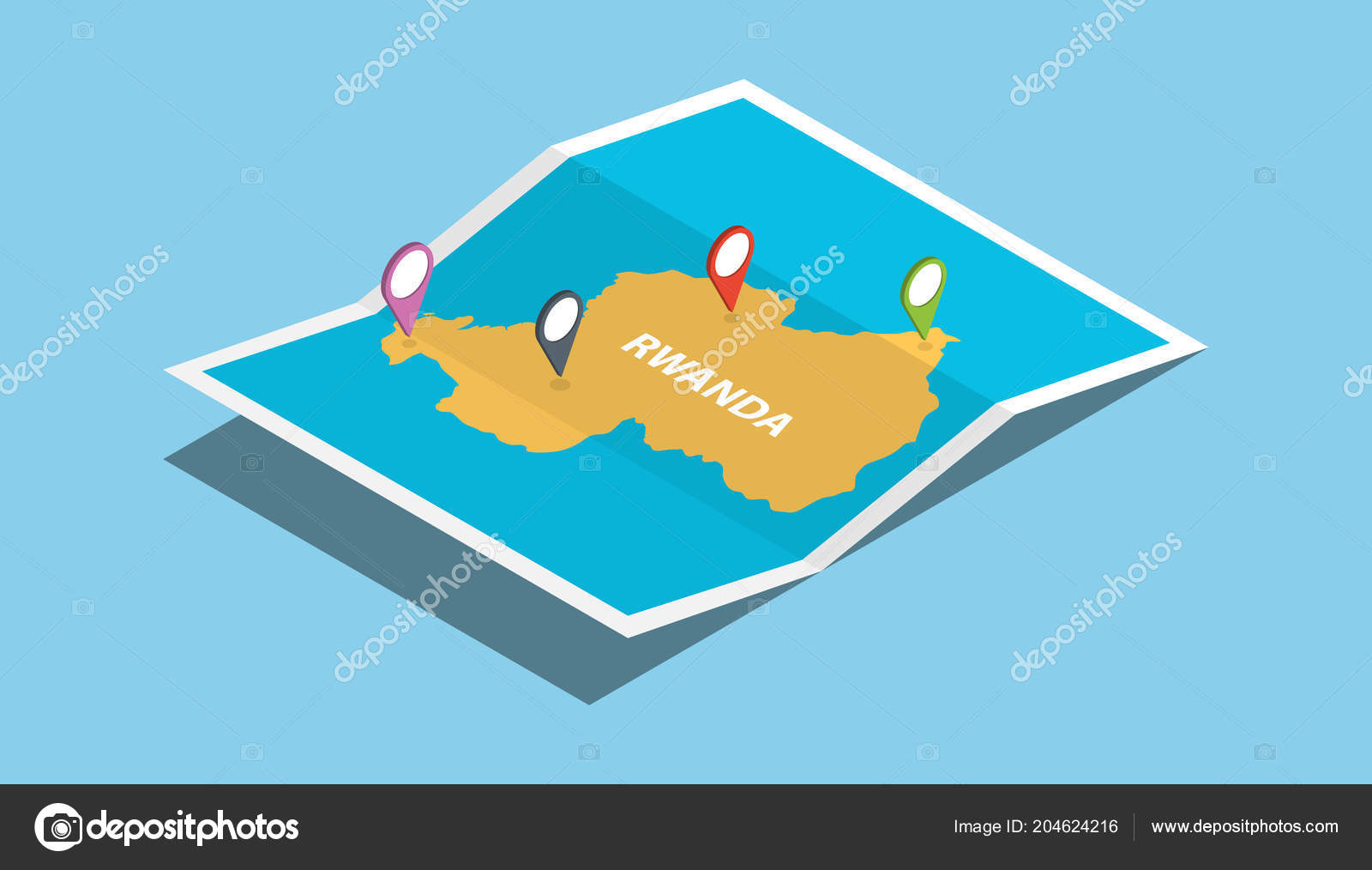 Rwanda Africa Explore Maps Isometric Style Pin Location Tag Top ...