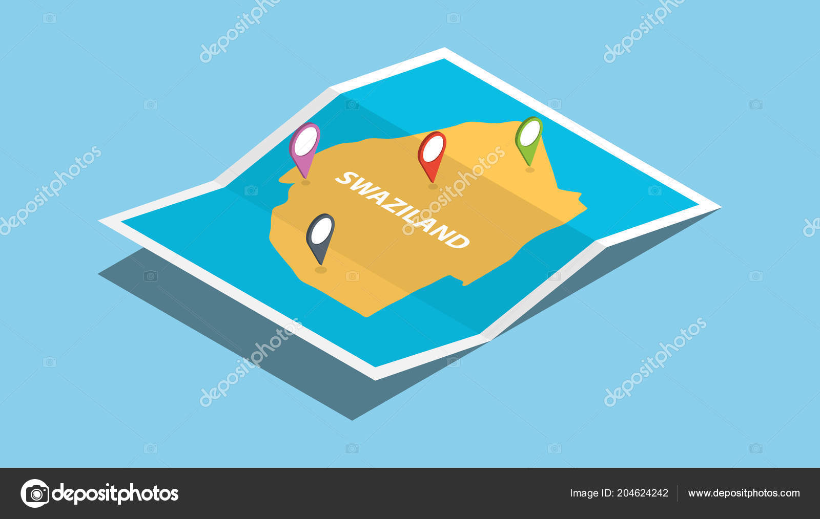 Swaziland Africa Explore Maps Isometric Style Pin Location Tag Top ...