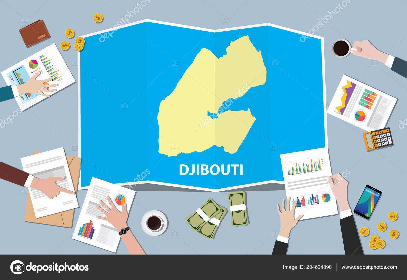 Djibouti Africa Economy Country Growth Nation Team Discuss Fold Maps ...