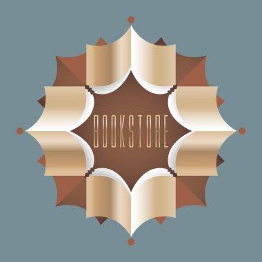 Bookstore, bookshop, library vector sign, icon, symbol, emblem, logo