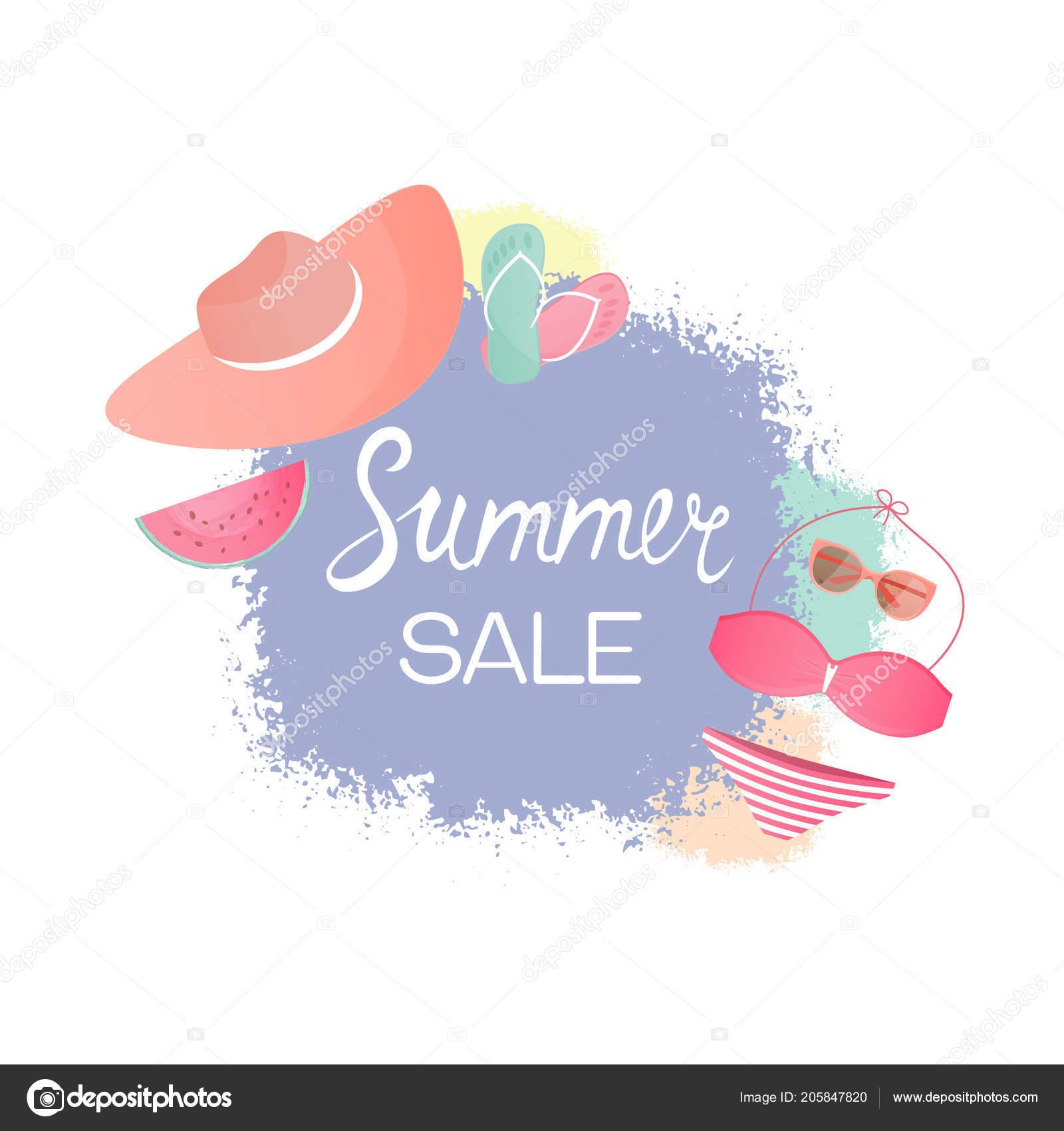 Swimsuit Hat Glasses Flip Flops Design Template For Summer Sale Vektor Von 0936693698lgmail