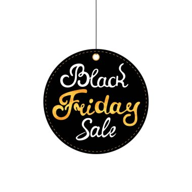 Black Friday tag. Sale label. Hand drawn lettering with gold texture.