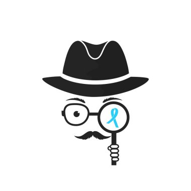 A man with a mustache in his hat holds a magnifying glass in his hand. Blue Ribbon. Prostate cancer Awareness Month concept