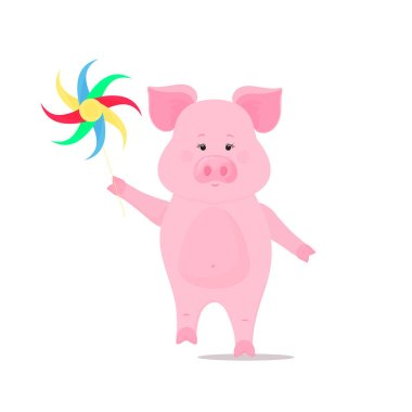 Cute pig walks and keeps a pinwheel toy. Funny animal. Piggy Cartoon Character. The symbol of the Chinese New Year 2019.